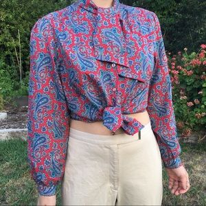 Blue & Red Vintage Paisley Button-up Top w/Bow Tie